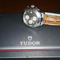 Tudor Chronautic pre-owned 40mm Silver Chronograph Date Tachymeter Leather