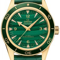 Omega Yellow gold Automatic Green 41mm new Seamaster 300