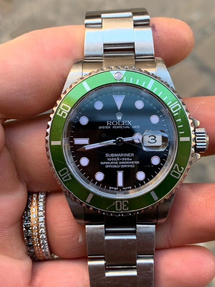 d3a45cd2def Rolex SUBMARINER GREEN VERDE full Fat Four 4 Four serial Y for S ...