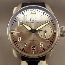 IWC Big Pilot tweedehands 46mm Zilver Datum Leer
