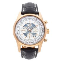 Breitling Transocean Chronograph Unitime pre-owned 46mm White Chronograph Date GMT Crocodile skin