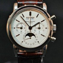 Patek Philippe Perpetual Calendar Chronograph White gold 36mm White No numerals