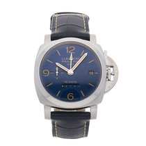 Panerai Luminor 1950 10 Days GMT pre-owned 44mm Blue Date Crocodile skin
