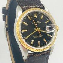 Rolex Oyster Perpetual Date Gold/Stahl 34mm Schwarz Keine Ziffern
