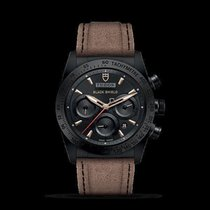 Tudor FASTRIDER BLACK CERAMIC SHIELD LEATHER STRAP WATCH...