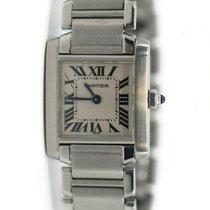 Cartier Tank Française pre-owned 20mm White Steel