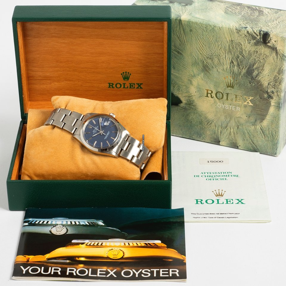 Rolex Oyster Perpetual Date 15000 denim blue box & papers 1989