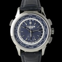 Patek Philippe World Time Chronograph Or blanc 40mm Bleu