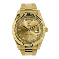 Rolex DAY-DATE II 41mm Yellow Gold Diamond Dial Watch 218238