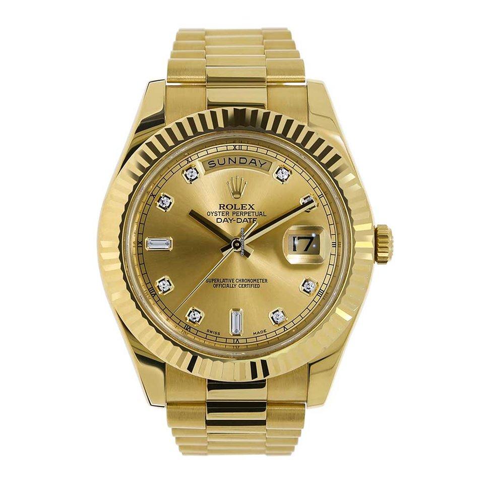 Rolex DAY,DATE II 41mm Yellow Gold Diamond Dial Watch 218238