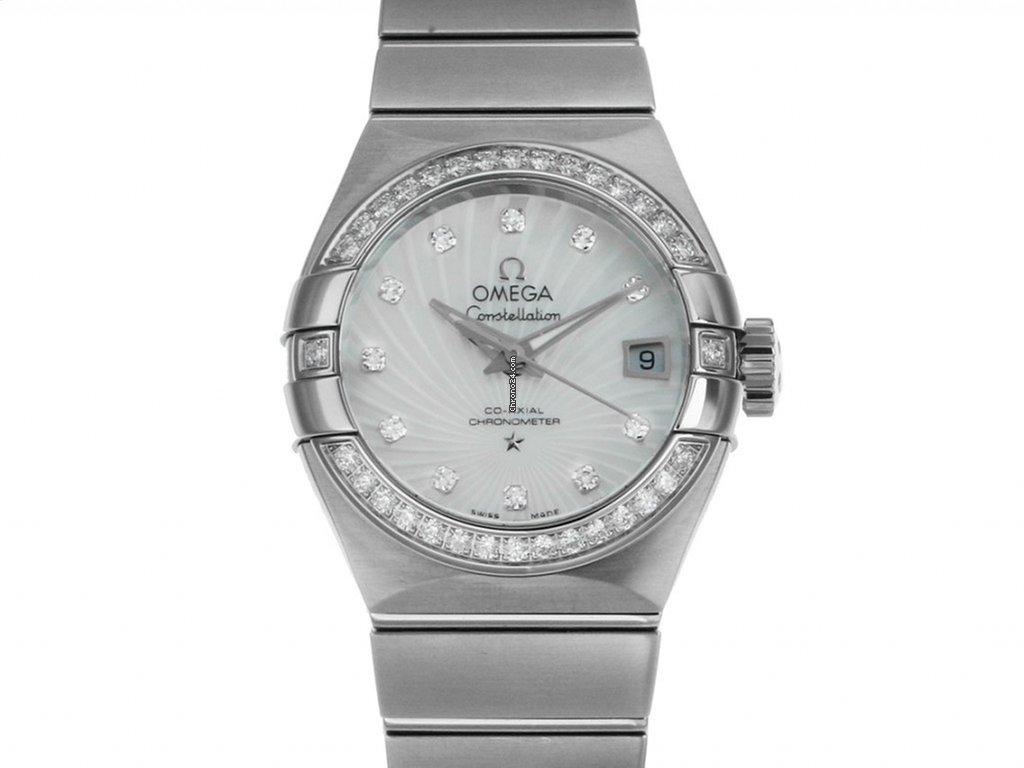 458fbb73638 Omega Constellation Co-Axial Stahl Automatik Diamond Perlmutt Armband Stahl  27mm Ref.123.15.27.20.55.001 Box Pap. Full Set Ungetragen mit Zertifikat