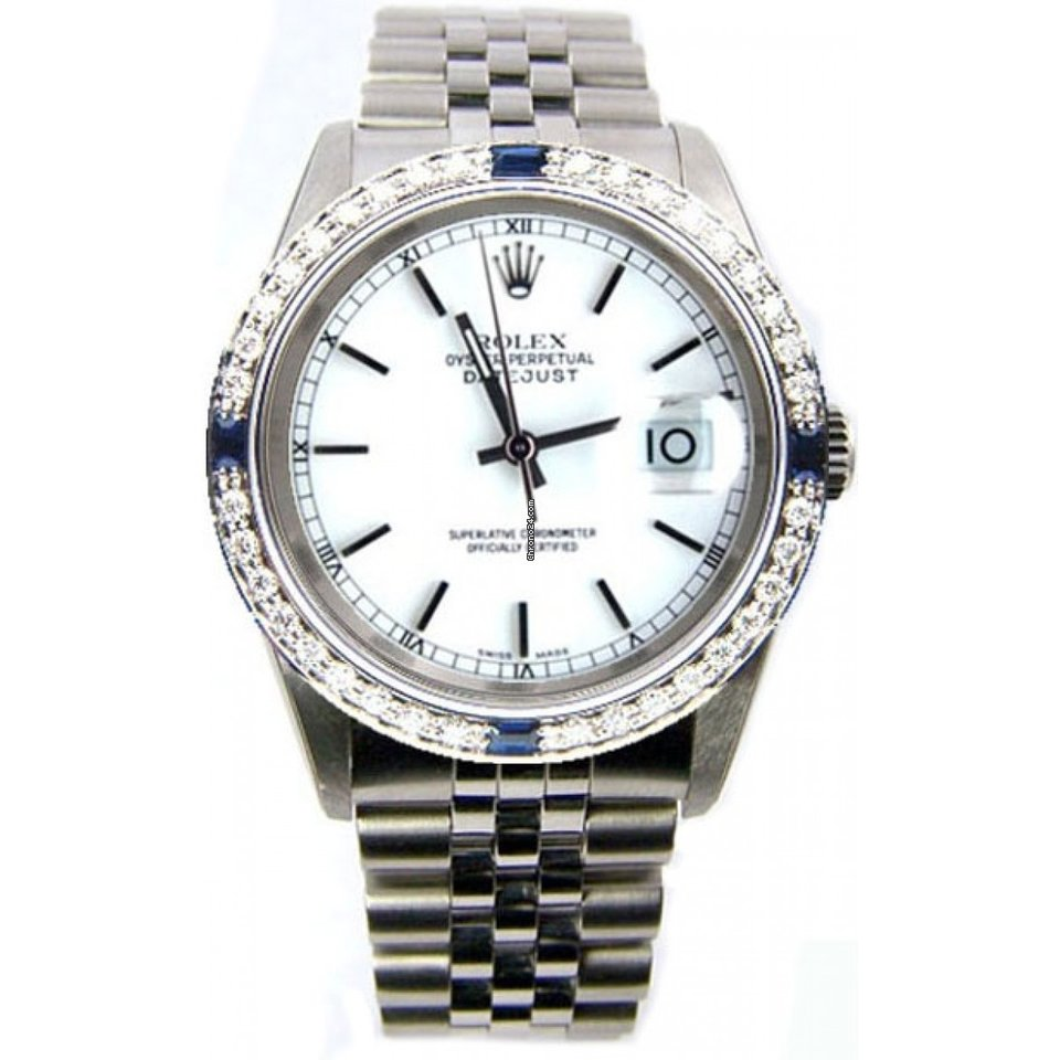 Rolex Datejust Men's Perfect New Condition Model 16200 Stainless Steel  Jubilee Band w/White Stick Dial and Custom Added Sapphire Diamond Bezel-90's