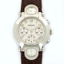 DeLaneau 3-Time Zone Steel Chronograph Watch