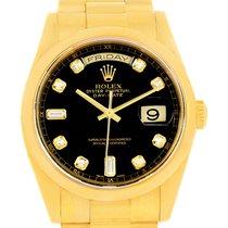 Rolex President Day Date Yellow Gold Black Diamond Dial Watch...