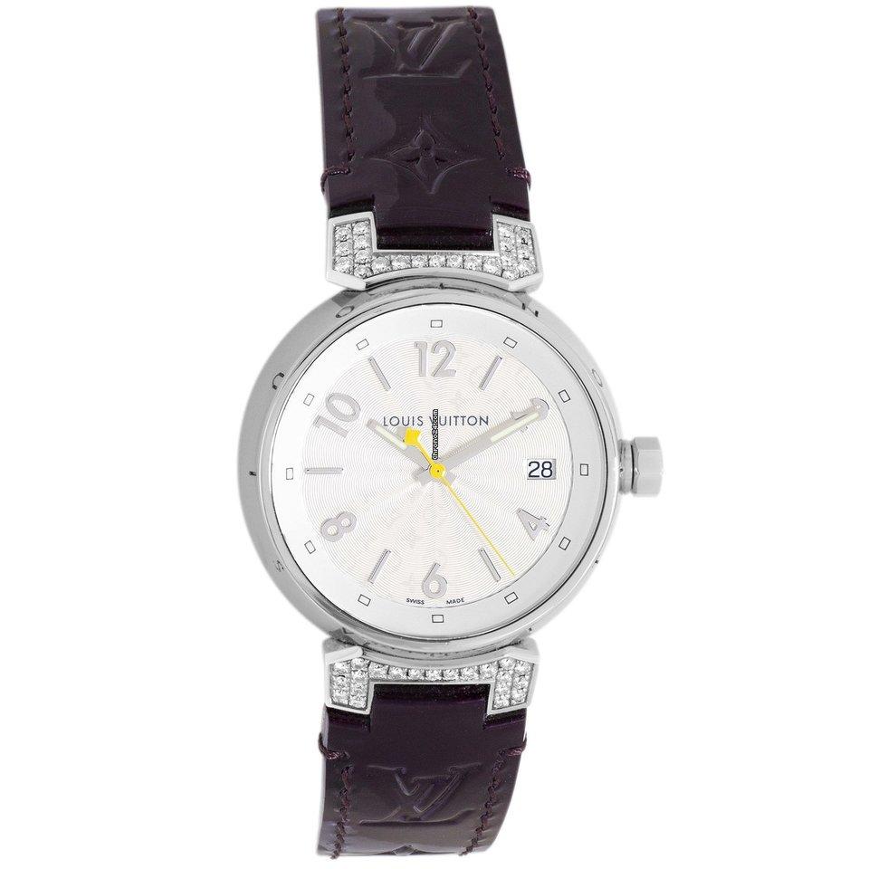 8e1bc1f773 Louis Vuitton Stainless Steel & Diamond Tambour 34mm Quartz Watch Q1310