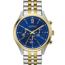 York 45A131 Mens Watch Two-Tone Band Chronograph With Blue Dial
