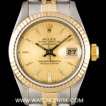 Rolex S/S & 18k Y/G Champagne Tapestry Dial Datejust Ladies 69173