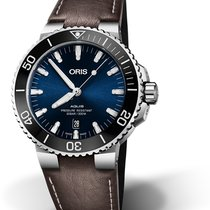 Oris DIVING AQUIS DATE Steel-Blue Dial-Brown Leather  43,5mm