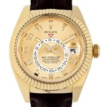 Rolex Yellow gold Automatic Gold Arabic numerals 42mm new Sky-Dweller