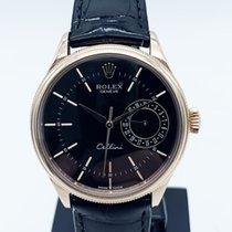 Rolex Cellini Date Or rose 39mm Noir Sans chiffres