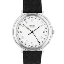 Hermès Carrick 35mm Stainless Steel White Roman Leather Quartz...