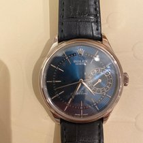 Rolex Cellini Date pre-owned 39mm Blue Date Crocodile skin