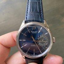 Rolex Cellini Date usados 39mm Azul Fecha Cuero de cocodrilo