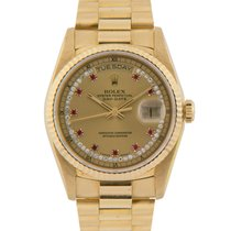 Rolex 18k Day-Date with Diamond/Ruby String Dial Ref: 18238