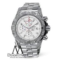 Breitling Mens Breitling Super Avenger A13370 White Dial Watch...