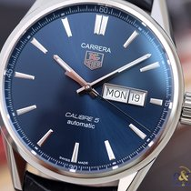TAG Heuer Carrera Calibre 5 Day-Date 41 Blue Indexes Steel on...