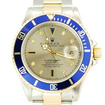Rolex Submariner Date Two Tone 18k YG/SS Serti Dial - 16613