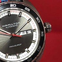 Hamilton American Classic Pan Europ Auto Grey Steel/Leather...