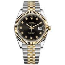 Rolex Datejust Gold/Stahl 41mm Schwarz Keine Ziffern