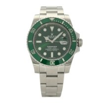Rolex Submariner Date Stal 40mm Zielony Bez cyfr