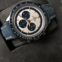 Omega Speedmaster Professional Moonwatch pre-owned 39.7mm Silver Chronograph Tachymeter Crocodile skin