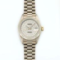 Rolex White Gold Datejust XL Pave Diamond Watch Ref. 69179