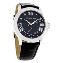 Raymond Weil Tradition Mens Black Leather Swiss Watch 9576-STC...