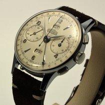 Angelus CHRONODATO Vintage Triple date calendar chrono steel 38mm
