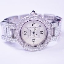 Cartier Pasha 42mm Stainless Steel Watch With Custom Diamonds...