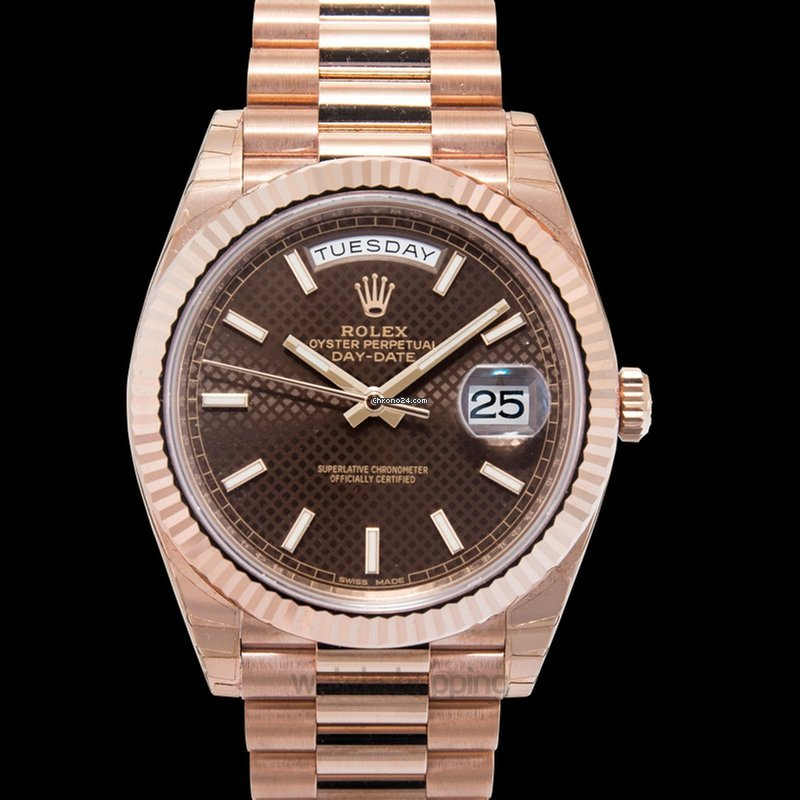 Rolex Day,Date 40 Everose / Chocolate Diagonal Motif , 228235