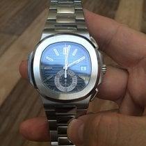 Patek Philippe Nautilus pre-owned 40.5mm Blue Chronograph Date Steel