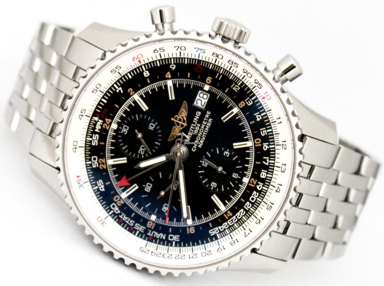 Breitling Navitimer World Automatic Stainless Steel Watch A24322