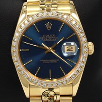 Rolex Datejust 18k Yellow Gold 16018 1.05ct Diamond Bezel Blue...