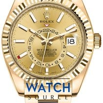 Rolex Yellow gold Automatic Champagne 42mm new Sky-Dweller