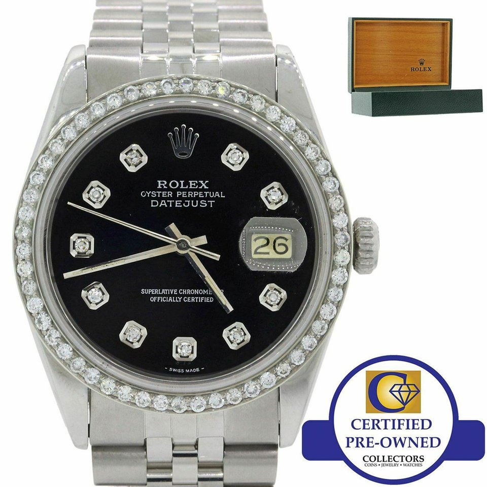 save off d75e1 140d4 Rolex DateJust 16014 Steel Diamond Bezel Black Dial Jubilee Steel Watch w  Box M8