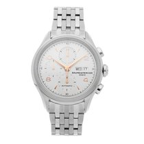 Baume & Mercier Clifton pre-owned 43mm Silver Chronograph Date Fold clasp