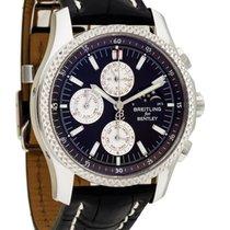 Breitling Bentley Mark VI gebraucht 42mm Schwarz Mondphase Chronograph Datum Wochentagsanzeige Monatsanzeige Krokodilleder