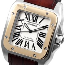 Cartier Santos 100 Large Steel & Gold  on Leather -...