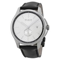 95a2c61b33d Gucci G-timeless Silver Dial Leather Strap Men s Watch Ya126313 for ...