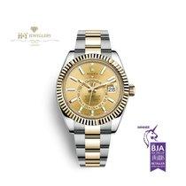 Rolex Sky-Dweller Золото/Cталь 42mm Цвета шампань Без цифр